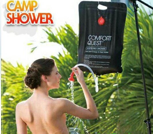 【露營趣】中和 TNR-040 20L CAMP SHOWER 淋浴袋 水袋 摺疊水袋 沖澡器 蓮蓬頭 黑色吸太陽熱能