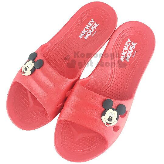 〔小禮堂〕迪士尼 米奇 塑膠拖鞋《紅.大臉》環保室內防滑