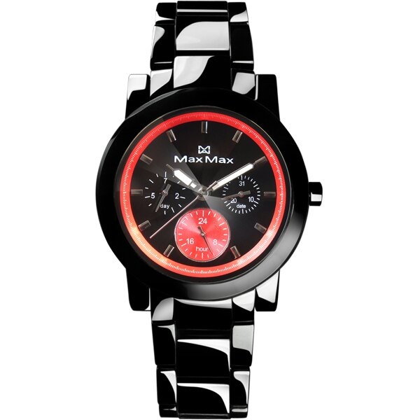 Max Max MAS50803J-B4耀光類鑽切割鏡面三眼陶瓷腕錶/橘黑面38mm