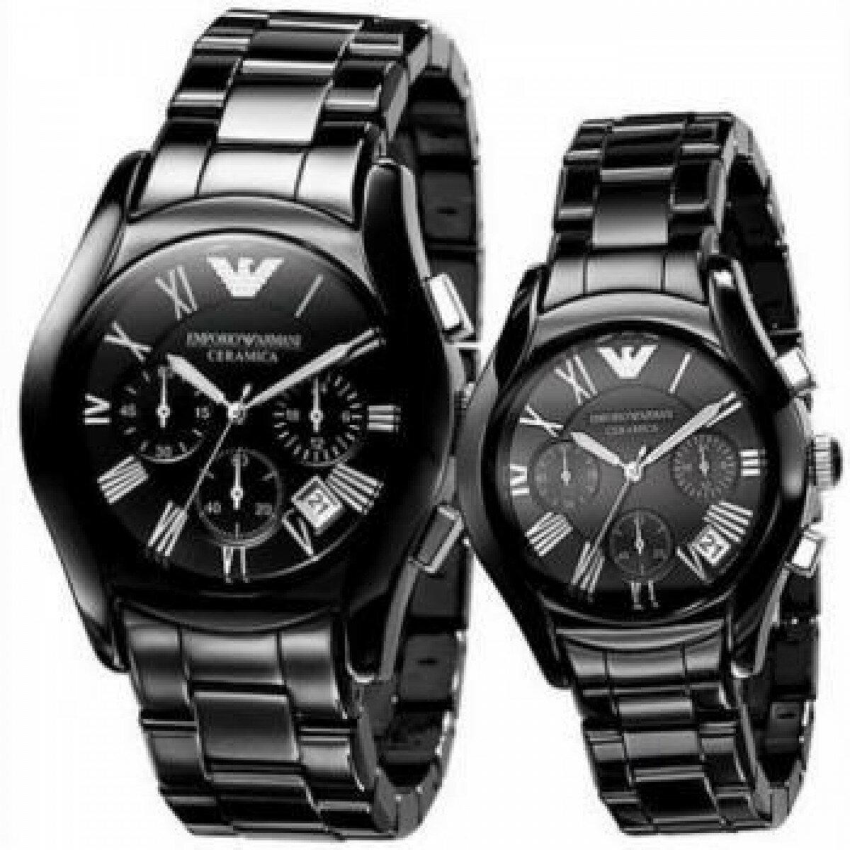 【ARMANI亞曼尼】經典陶瓷三眼計時腕錶\情侶款(AR1400\AR1401)-黑