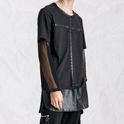 FINDSENSE H1 2018春裝 重工搖滾 金屬 鉚釘裝飾 加長 純色 衛衣