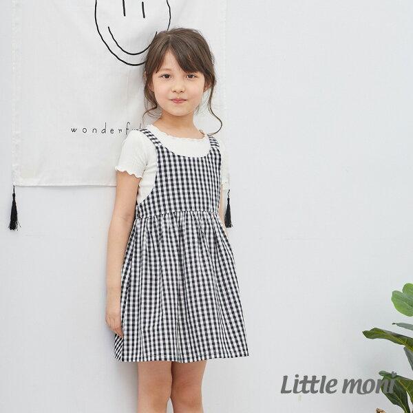 Littlemoni夏日女孩平織洋裝-黑色