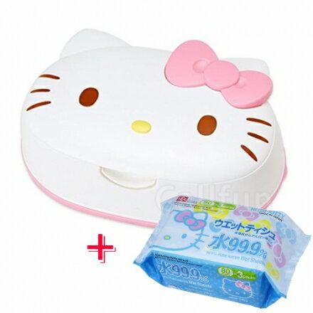【超值優惠組】日本Hello Kitty 凱蒂貓可愛造型濕紙巾盒+濕紙巾補充包‧日本製