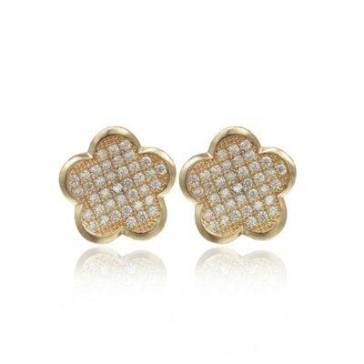~925純銀耳環鑲鑽耳飾~極光炫彩花朵 生日情人節 女飾品2色73dm166~ ~~米蘭