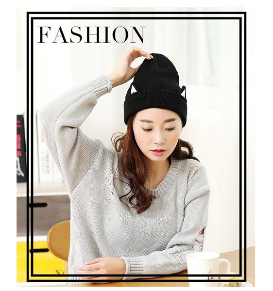 PS Mall 韓版個性貓咪耳朵黑色毛線帽 針織帽  毛帽【G2350】