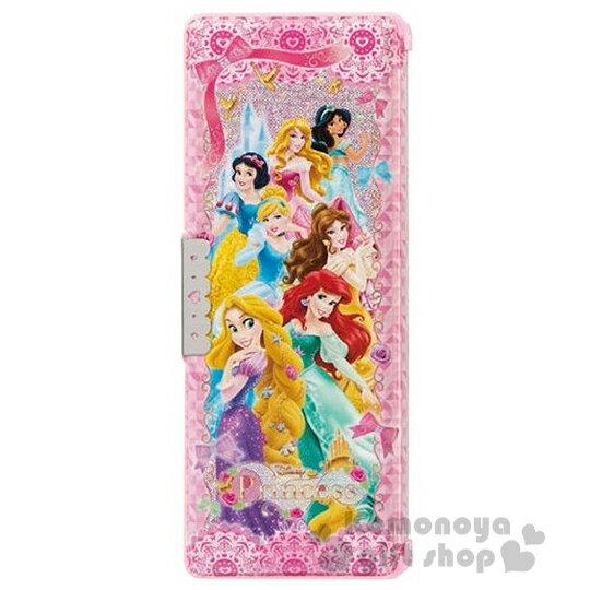 〔小禮堂〕迪士尼 公主 多功能筆盒《粉.鑽石.多角色.城堡.閃亮亮》雙開式