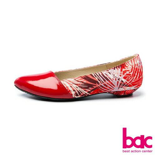 【bac】甜美履行-柔美色調夏日印花異材質拼接尖頭低跟鞋-紅色