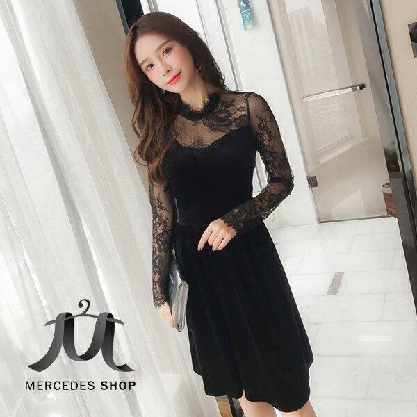 《全店75折》春裝赫本小黑裙蕾絲拼接絲絨高腰連身裙長袖洋裝(S-2XL)-梅西蒂絲(現貨+預購)