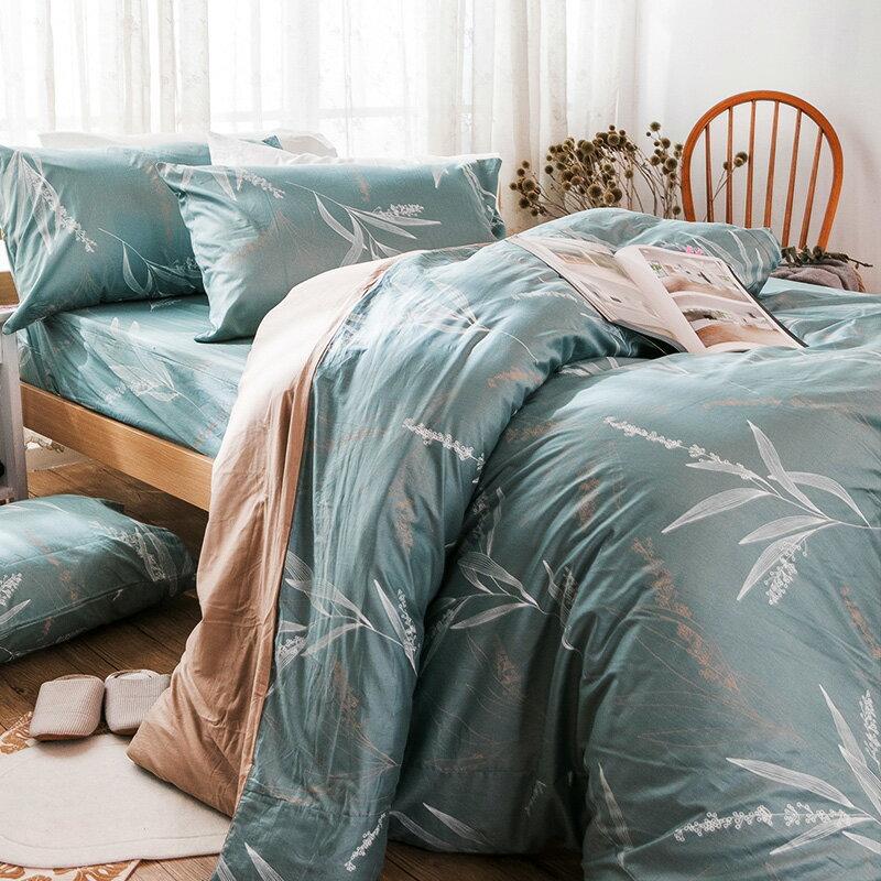 床包  /  雙人加大-100%精梳棉【柳葉輕淺】含兩件枕套 戀家小舖 好窩生活節  台灣製 4
