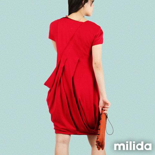 【Milida,全店七折免運】V領俏皮花苞剪裁洋裝 4