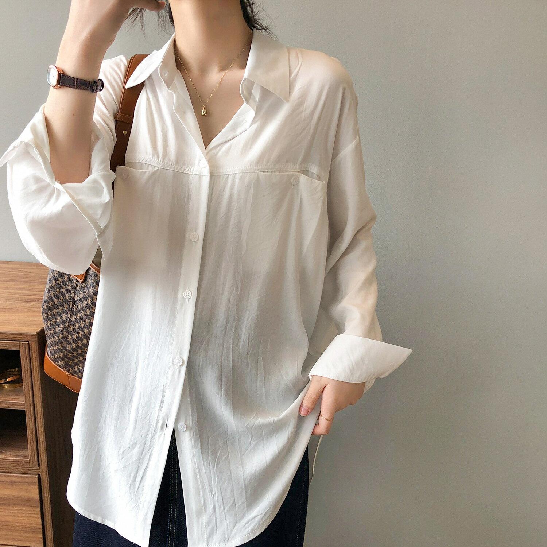 天絲襯衫女2021春季新款韓版寬鬆休閒透氣垂感長袖襯衣