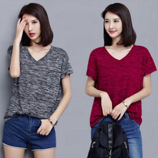 糖衣子輕鬆購【HY6010】韓版時尚原宿BF風寬鬆簡約V領T恤上衣