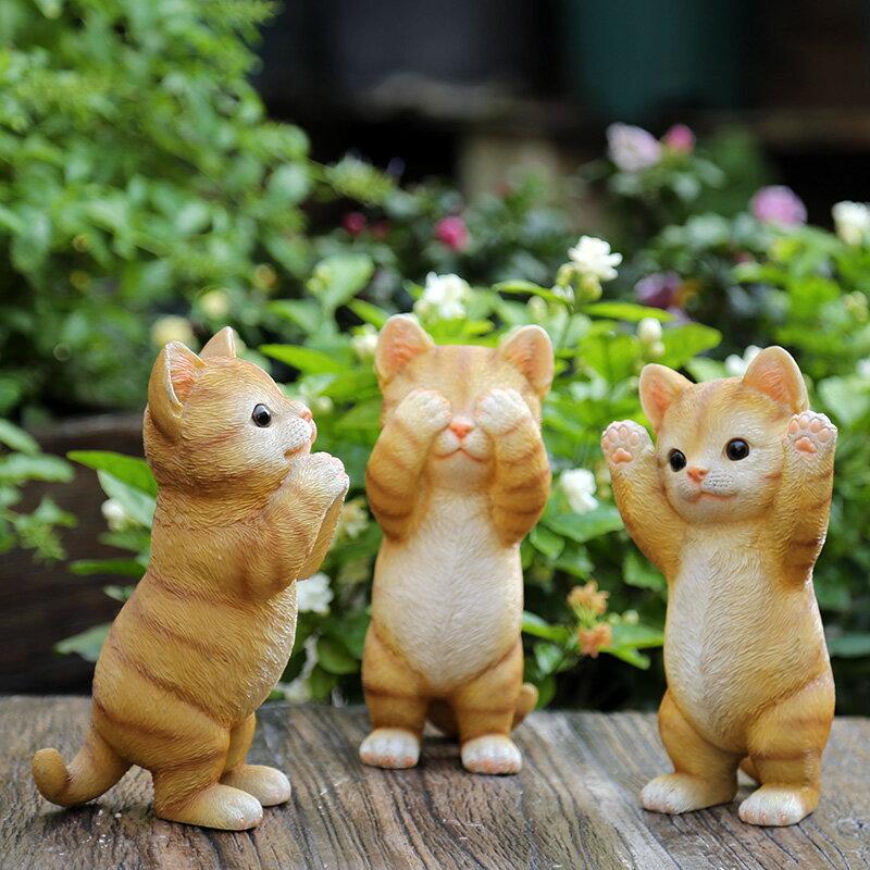 花園小擺件 庭院裝飾樹脂工藝品家居飾品創意卡通動物小貓擺件