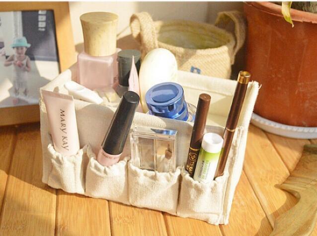 棉麻Zakka米白色 收納盒 收納袋 保養品收納 化妝品收納盒 小物棉麻袋 梳妝用品 梳子收放用 棉麻收納包 收納袋
