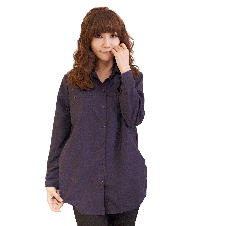 ☆眼圈熊☆I99女人的柔性美.側抓皺雙口袋造型長袖長版襯衫(黑、白、紫M-2L) 1