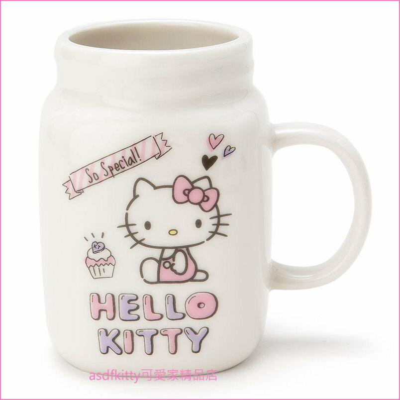 asdfkitty可愛家☆KITTY罐型陶瓷馬克杯-也可當筆筒或花器-日本正版商品