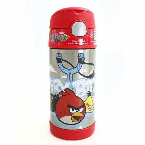 【美國膳魔師 Thermos】不銹鋼兒童吸管水壺 (憤怒鳥)兒童學習水杯-(新款有提把)