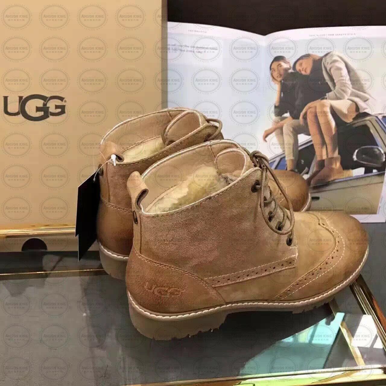 OUTLET正品代購 澳洲 UGG 女款加厚磨砂面 馬汀靴 中長靴 保暖 真皮羊皮毛 雪靴 短靴 駝色 3