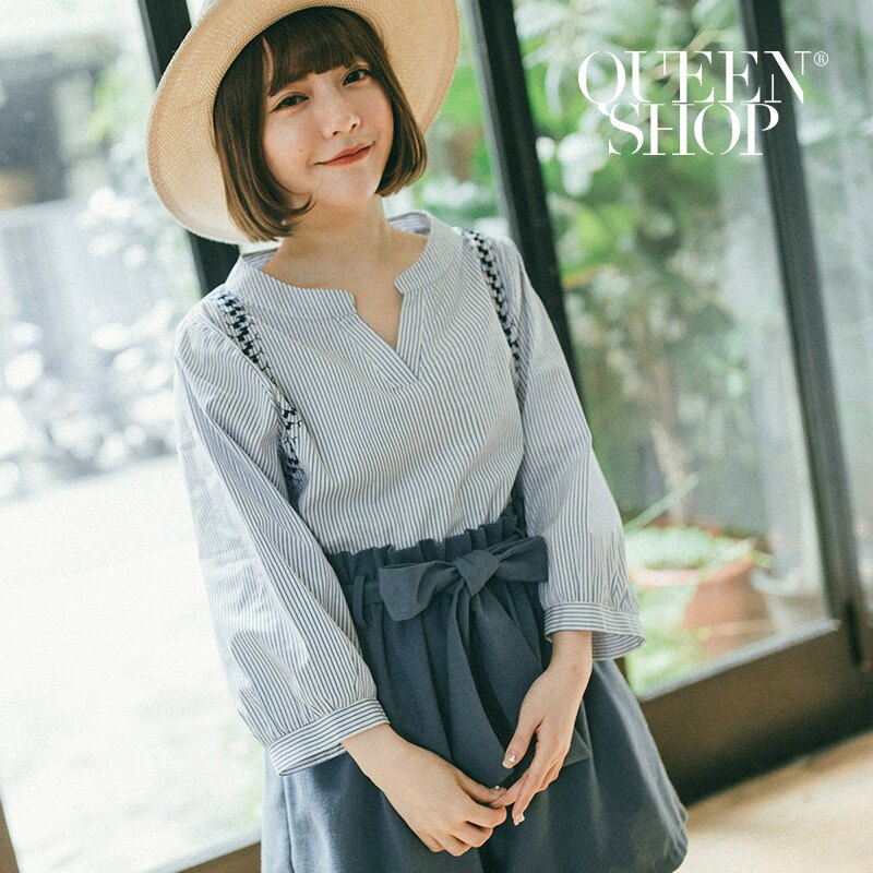 Queen Shop【01095767】配色條紋繡花裝飾V領上衣*預購*