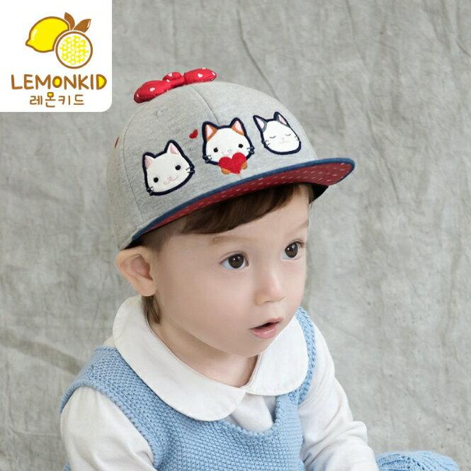 Lemonkid◆甜美可愛貓咪蝴蝶結兒童鴨舌棒球帽-牛仔帽沿