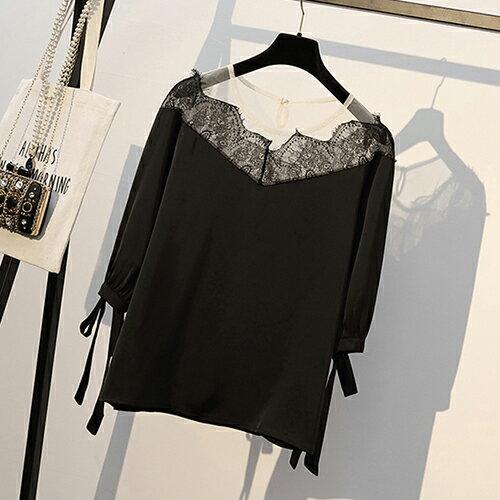 *ORead*韓版大碼顯瘦拼接雪紡衫(3色XL~5XL) 1