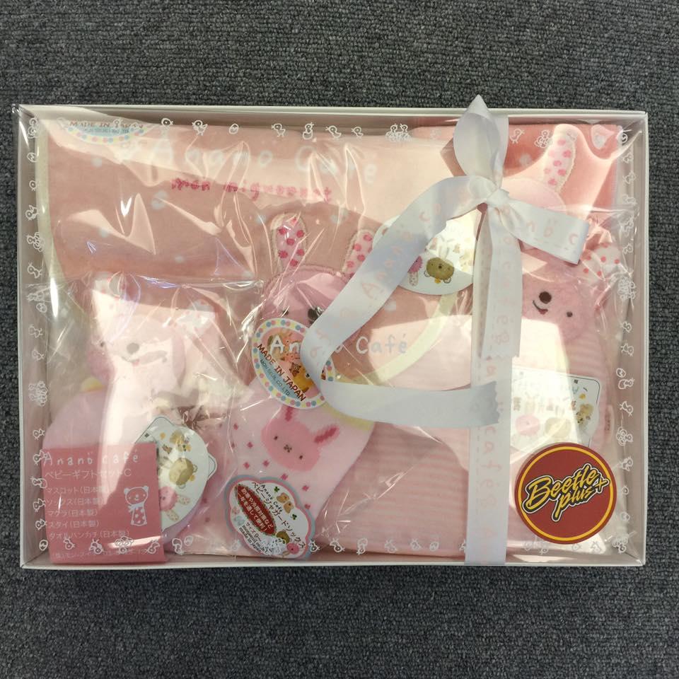 BEETLE PLUS 全新 日本製 ANANO CAFE 今治毛巾 彌月禮盒五件組 初生兒禮盒 粉色 馬卡龍 粉紅兔禮盒