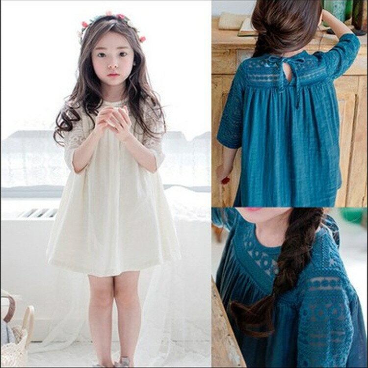 中小童 蕾絲七分袖棉麻連身洋裝【C2165049】