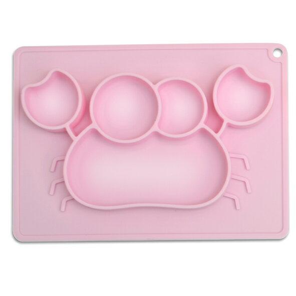 genkibebi元氣寶寶螃蟹矽膠止滑餐盤-粉色