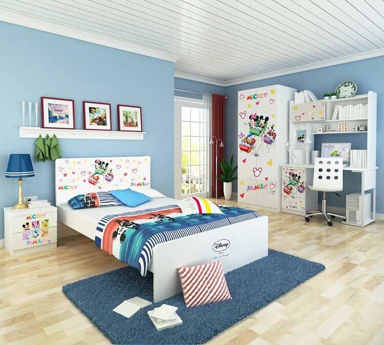 [首雅傢俬]MIT 迪士尼系列-米奇家族 5尺 雙人床架 兒童床架