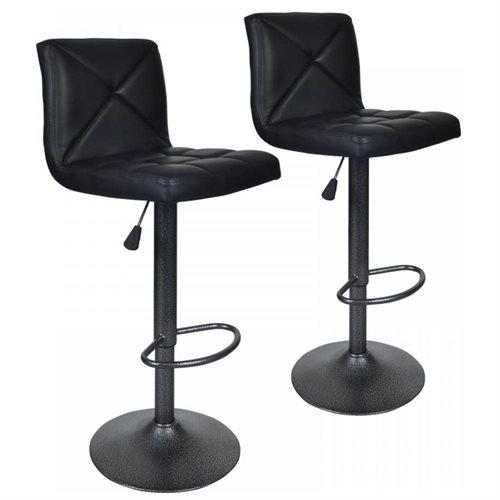 Black 2 PU Leather Modern Adjustable Swivel Barstools Hydraulic Chair Bar  Stools 0