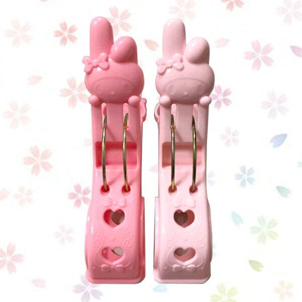 日本進口正版美樂蒂造型厚物用竹干夾造型棉被曬衣夾夾子(2入)579339