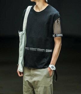 FINDSENSEMD日系潮男時尚寬鬆衣袖網格五分袖拼接字母織帶短袖T恤特色短T學生T恤