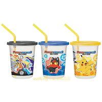Pokemon:精靈寶可夢到asdfkitty可愛家☆寶可夢 神奇寶貝 皮卡丘3入塑膠吸管杯-320ML-黃藍灰-日本製