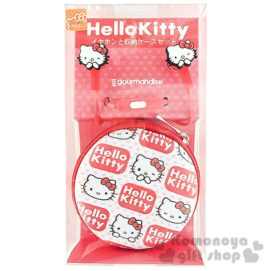 〔小禮堂〕Hello Kitty 造型耳塞式耳機麥克風《白紅.大臉.愛心》附同款收納盒