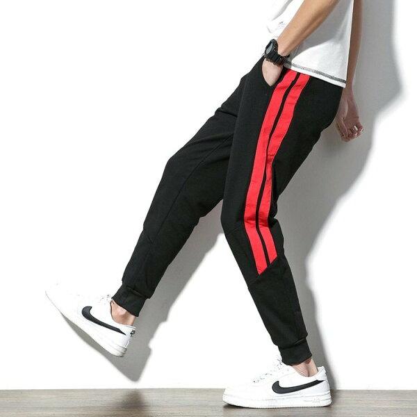 FINDSENSEG6韓國時尚條紋九分褲男士休閒褲大碼男裝寬鬆運動褲小腳褲
