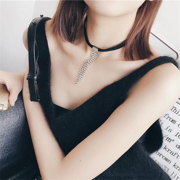 PS Mall 韓版定制款 時尚 法蘭絨 絨布爪鑽鑲閃鑽流蘇頸鏈 項鍊 【G2325】