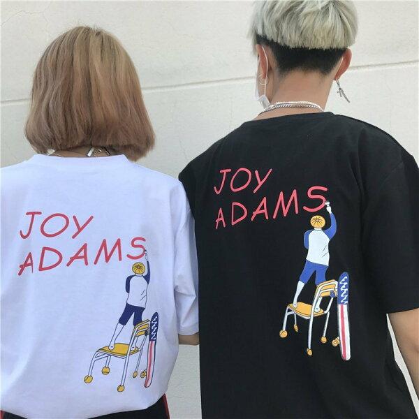 FINDSENSEMD日系潮街頭男女情侶裝寬鬆五分袖卡通字母印花短袖T恤卡通圖案T