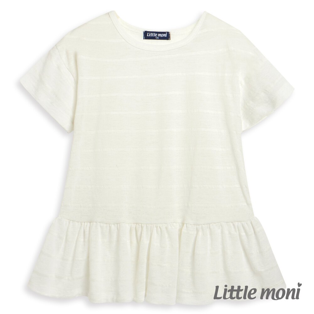 Little moni 清透條紋荷葉襬上衣-象牙白