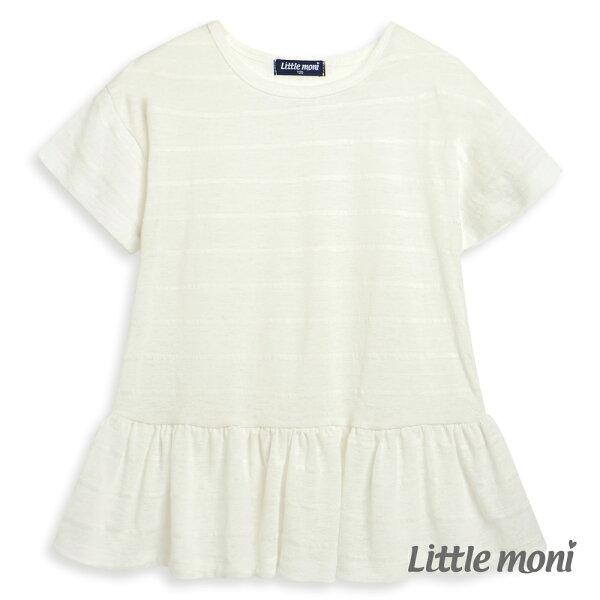 Littlemoni清透條紋荷葉襬上衣-象牙白