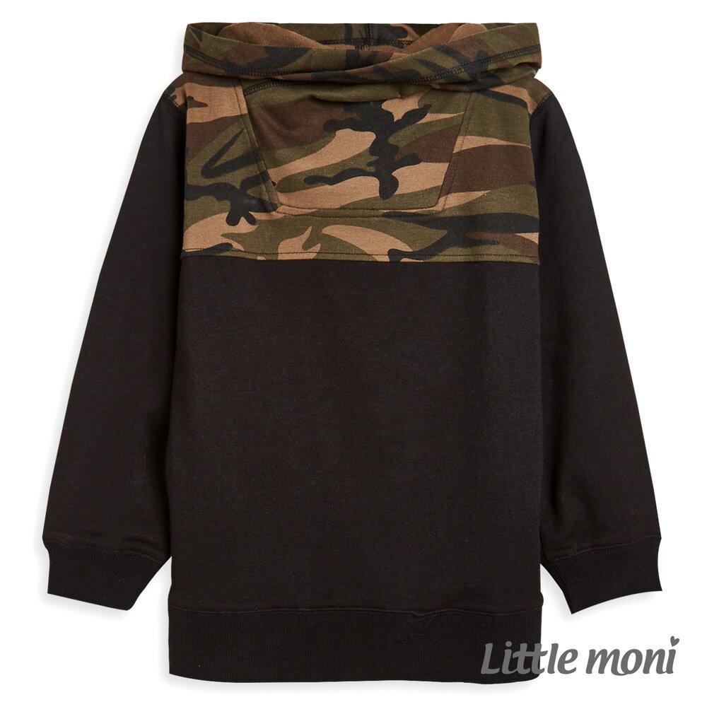 Little moni 連帽迷彩拼接上衣-黑色(好窩生活節) 0