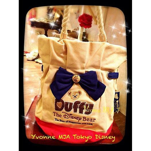 *Yvonne MJA日本代購*東京迪士尼海洋樂園限定正品Duffy達菲熊刺繡厚帆布手提肩背側背水桶包
