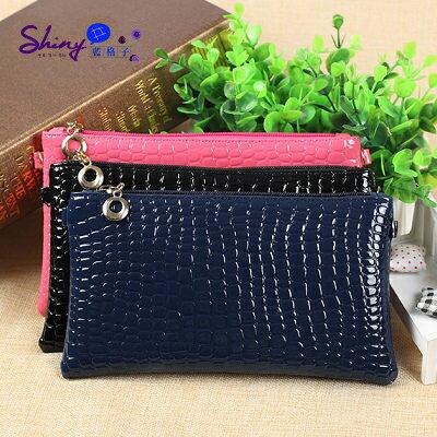 【P021】shiny藍格子-時尚女潮-韓國新款可愛零錢包小挎包手機包斜跨迷你小包