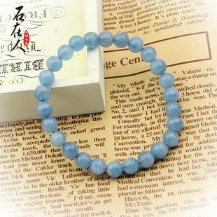 海藍寶水晶手鏈深藍淺藍 冰種海藍寶手鏈 7mm女款