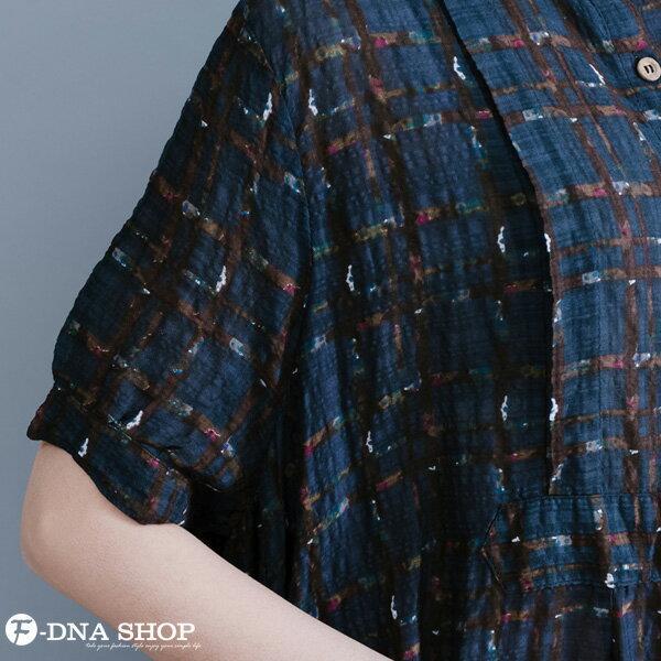 加大尺碼★F-DNA★格紋開扣立領長版短袖洋裝(藏青-L-XL)【HG22011】 6