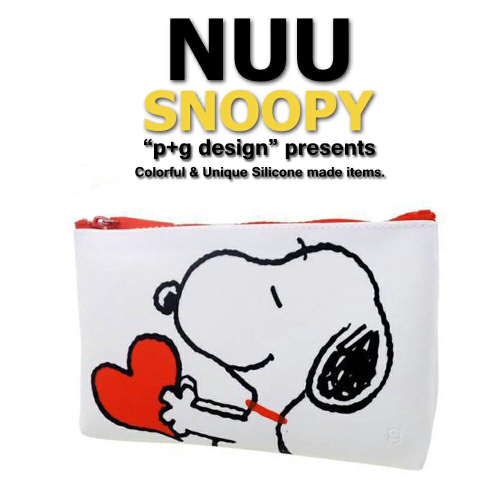 日本空運進口 p+g design NUU X Snoopy 2016 繽紛矽膠拉鍊零錢包 - 白色愛心款 0