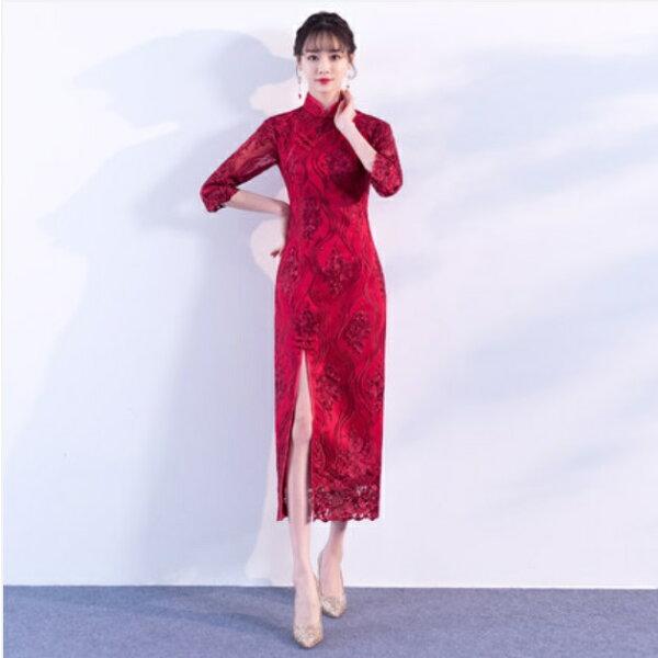 天使嫁衣【IU700】酒紅色立領剌繡蕾絲前開叉中式旗袍禮服˙預購訂製款