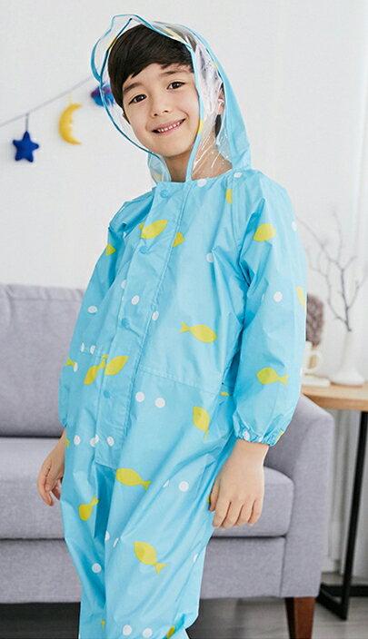 Lemonkid◆ 新款馬卡龍色悠遊小魚兒透明帽沿兒童學生連體式連身雨衣-藍色