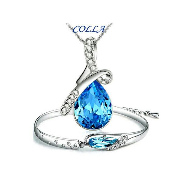 ✻蔻拉時尚✻[YQ026] COLLA天使淚奧地利高端水晶 項鏈/手鍊-1套2件(4色)