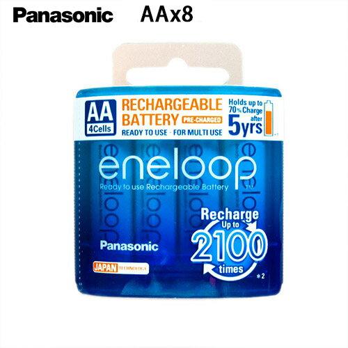Panasonic 國際牌 eneloop 3號AA 可充2100次, 2000mAh低自放電電池 8入裝送電池盒2個