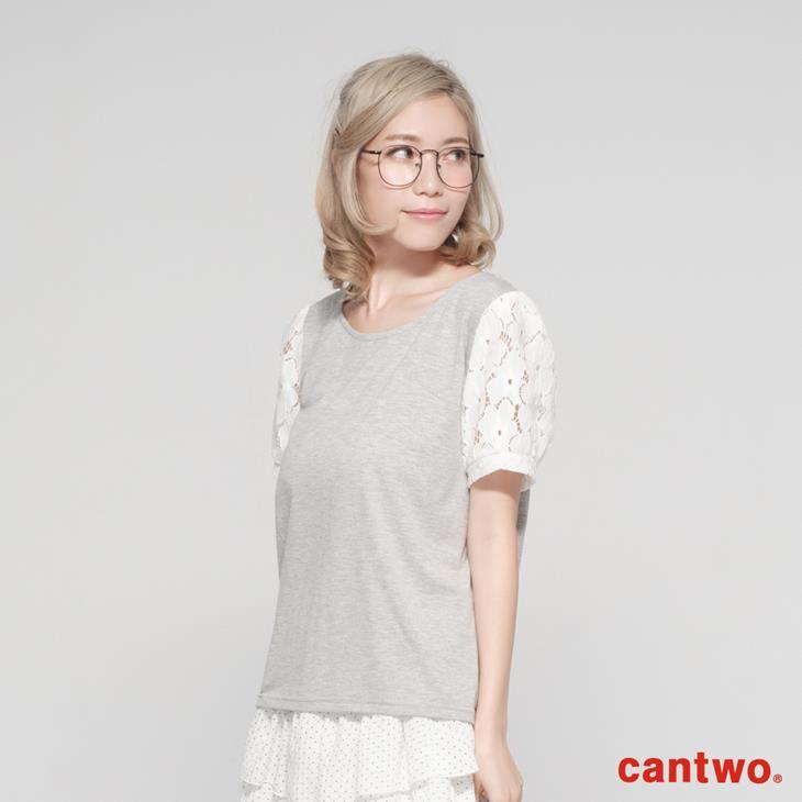 cantwo跳色拼接蕾絲袖上衣(共四色) 1